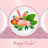 Cute Easter bunny card Stock Image