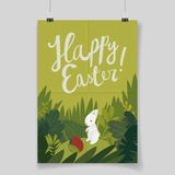 Cute easter bunny card. cartoon poster template. Royalty Free Stock Photos