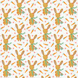 Cute easter bunny with carrots seamless pattern Royalty Free Stock Photo