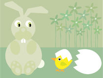 Cute Easter bunny and chick Stock Image