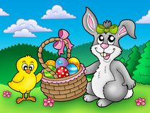 Cute Easter bunny and chicken Royalty Free Stock Images