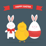 Cute Easter bunny, chicken and egg vector Royalty Free Stock Photography