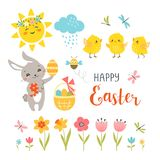 Cute Easter design elements isolated on white background Royalty Free Stock Image