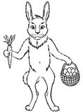 Cute Easter bunny. Contour black-and-white images Easter cute bunny with carrot and basket with egg Stock Photos