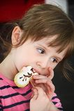 Cute easter bunny cookies on wooden stick decorated as rabbit sn royalty free stock image