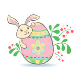 Cute Easter Bunny with egg. Stock Photography