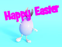Cute Easter bunny egg holding Happy Easter sign. Stock Image