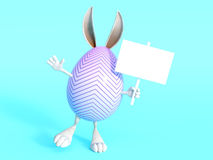 Cute Easter bunny egg with sign. Royalty Free Stock Photo