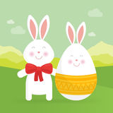Cute Easter bunny  and egg vector illustration. Stock Images