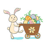 Cute Easter Bunny with eggs. Royalty Free Stock Photography