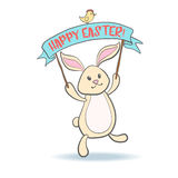 Cute Easter Bunny with eggs. Royalty Free Stock Photo