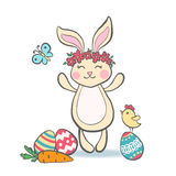 Cute Easter Bunny with eggs. Stock Photo