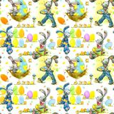 Cute Easter bunny and eggs watercolor seamless pattern Stock Image