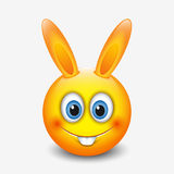 Cute Easter bunny emoticon, emoji - vector illustration Royalty Free Stock Photography