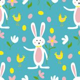 Cute Easter Bunny, Flowers and Chicken Seamless Pattern Print Background vector illustration