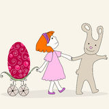 Cute Easter bunny and girl Royalty Free Stock Photography