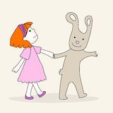 Cute Easter bunny and girl Royalty Free Stock Photo