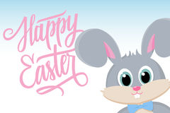 Cute easter bunny with Happy Easter greetings. Happy Easter greeting card. Handwritten inscription Happy Easter. Royalty Free Stock Photography