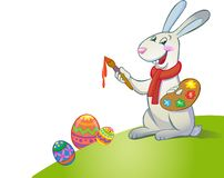 Cute Easter Bunny holding brush Royalty Free Stock Photography