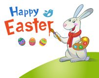 Cute Easter Bunny holding brush Stock Photography