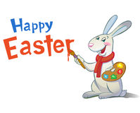 Cute Easter Bunny holding brush. Stock Images