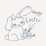 Cute Easter bunny for holiday card, baby shower or easter card. Royalty Free Stock Photo