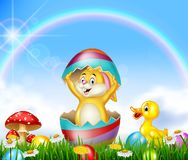 Cute Easter bunny inside cracked egg with nature background vector illustration
