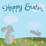Cute Easter bunny in nature  illustration. For  cards, banners, congratulations and web sites. Royalty Free Stock Photography