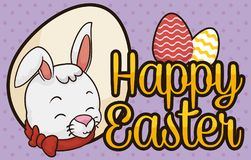 Cute Easter Bunny with Ribbon and Eggs to Celebrate Easter, Vector Illustration. Banner with happy bunny with a collar and bow and a greeting sign with decorated Royalty Free Stock Photography