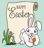 Cute Easter Bunny with Scroll Ready for Egg Hunt, Vector Illustration Stock Images