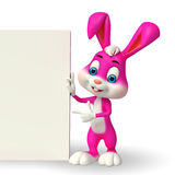 Cute Easter Bunny with sign Stock Photo