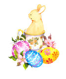 Cute easter bunny in tea cup, with colored eggs, flowers. Watercolor Stock Image