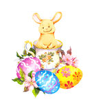 Cute easter bunny in tea cup, with colored eggs, flowers. Watercolor Royalty Free Stock Photos