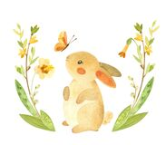 Free Cute Easter Bunny With Butterfly And Flower Wreath. Easter Or Children`s Themed Birthday Card Template With A Rabbit And Spring Fl Stock Photos - 210308273