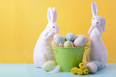 Cute Easter Bunny with Yellow Background. Royalty Free Stock Photos