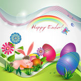 Cute Easter card with bunny Stock Photography