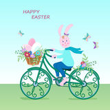 Cute Easter card bunny-01 Stock Image