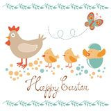 Cute Easter card with chicken and chicks Royalty Free Stock Image
