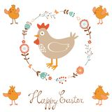 Cute Easter card with chicken and chicks Stock Photography