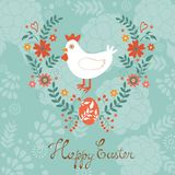 Cute Easter card with chicken in floral wreath Stock Photos