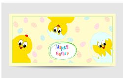 Cute easter card with funny chickens. Cute easter card with funny yellow chickens vector illustration