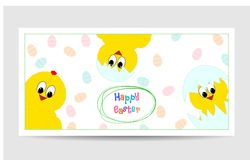 Cute easter card with funny chickens. Cute easter card with funny yellow chickens royalty free illustration
