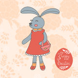 Cute Easter card with hand drawn bunny Royalty Free Stock Images