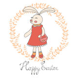 Cute Easter card with hand drawn bunny Stock Image