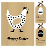 Cute easter card with hen and eggs, invitation, Royalty Free Stock Photos