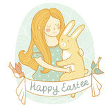 Cute easter card with rabbit and girl in love. Stock Photography