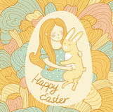 Cute easter card with rabbit and girl in love. Royalty Free Stock Photography