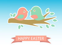 Cute easter card with two birds on the cherry tree Royalty Free Stock Photos