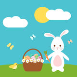 Cute easter cartoon with lovely bunny rabbit bird and egg basket in the meadow Royalty Free Stock Images