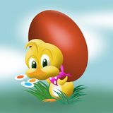Cute easter chick. With egg stock illustration